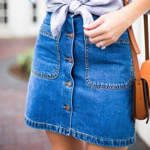 ZARA // denim button down a-line mini skirt